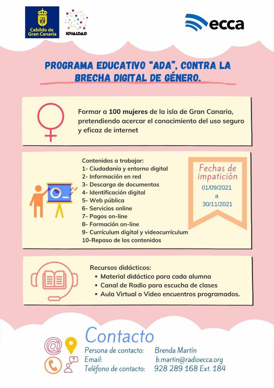 """Featured image for """"La consejería de Igualdad pone en marcha el Programa Educativo """"ADA"""" para luchar contra la brecha digital de género"""""""